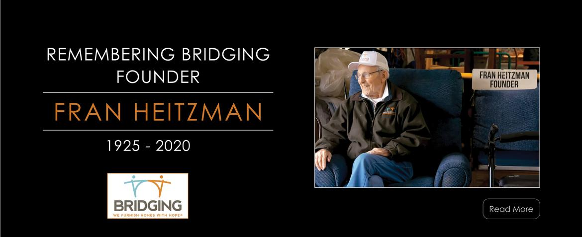 Image of Bridging Founder Fran Heitzman sitting on a couch