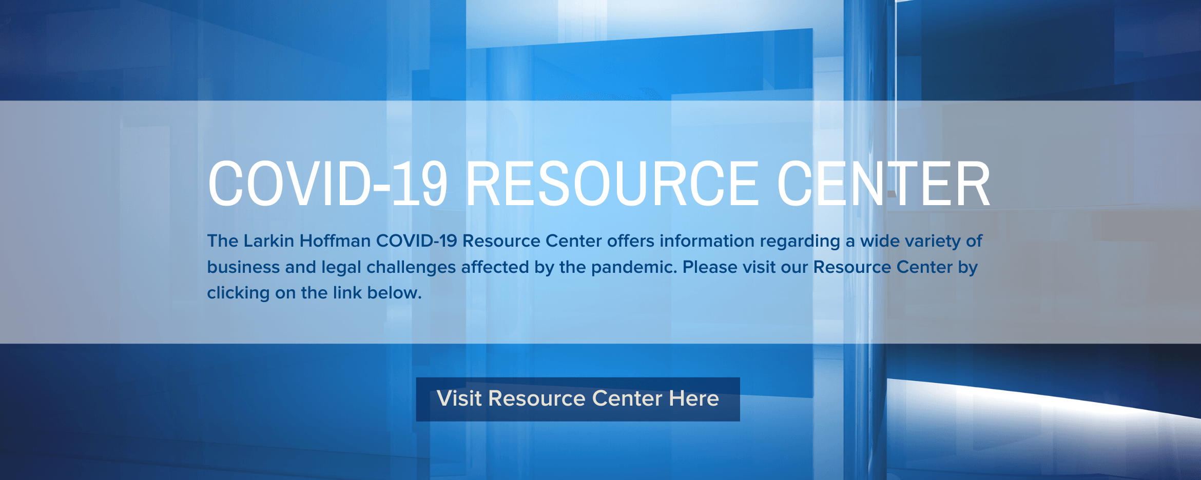 Image of coronavirus resource center banner with link to resource center